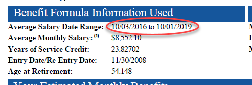 Excerpt from benefit estimate showing salary date range