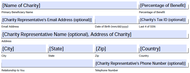 Field example for naming Charity as beneficiary