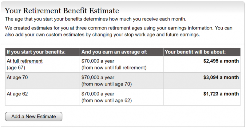 Social security estimate screenshot with 3 age scenarios