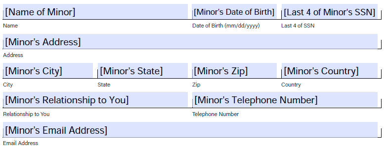 Field example for naming minor as beneficiary without custodian